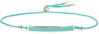 Arme De L'Amour - Tag Gold-plated, Enamel And Cotton Bracelet - Turquoise