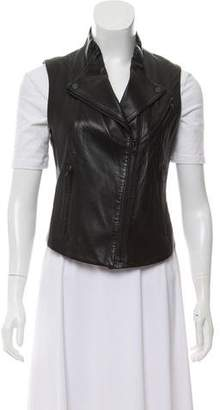 Theory Leather Zippered Vest