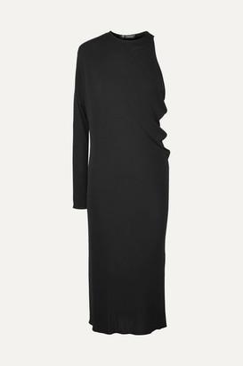 Versace Hooded One-shoulder Crepe Midi Dress
