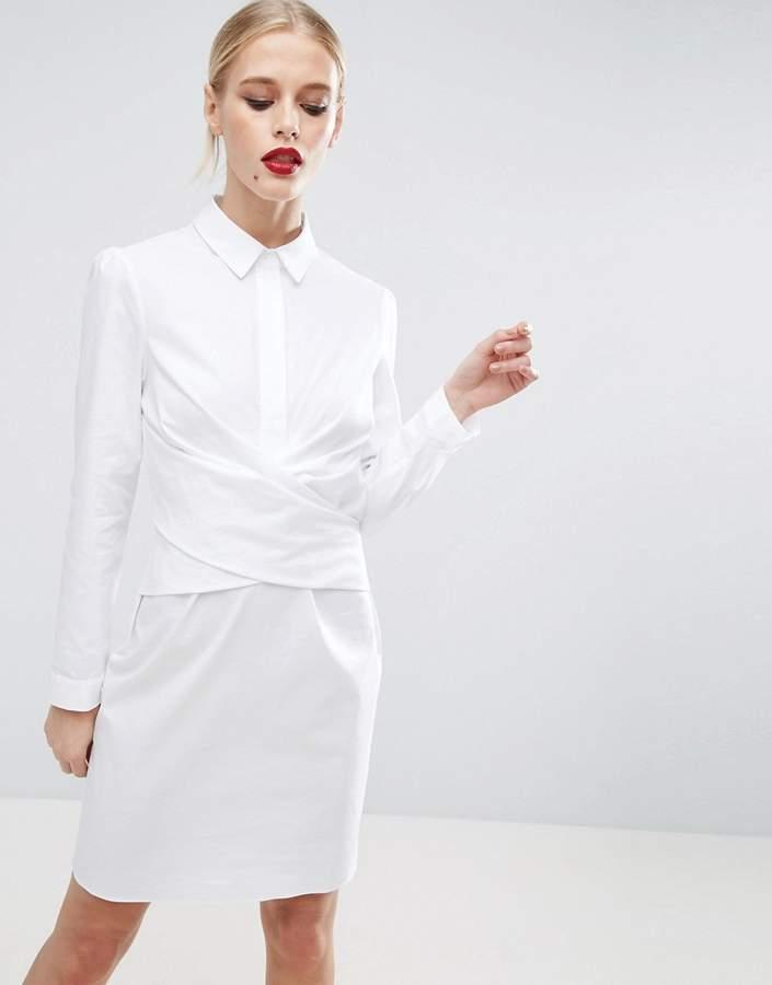 AsosASOS Cotton Wrap Front Shirt Dress