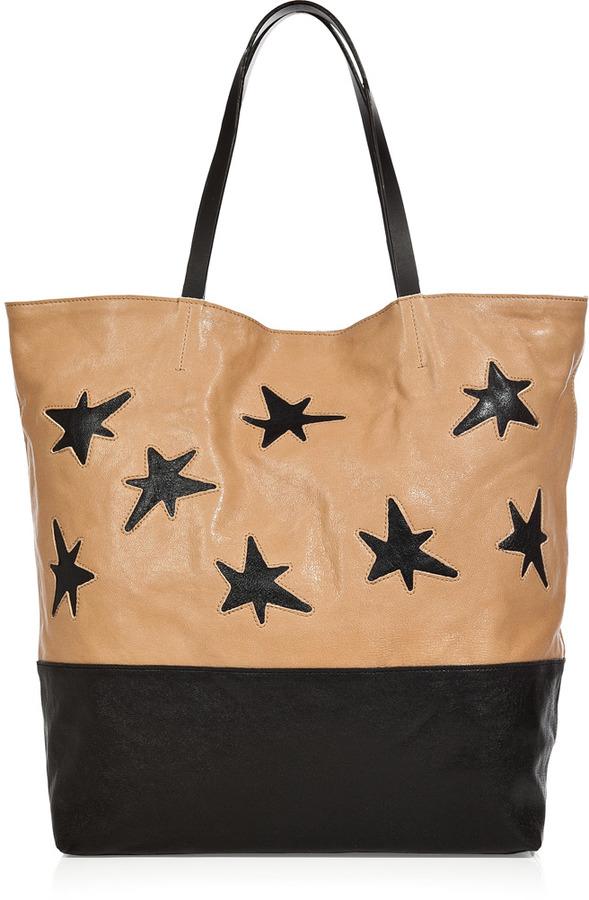 Rika Natural/Black Stars Leather Bag