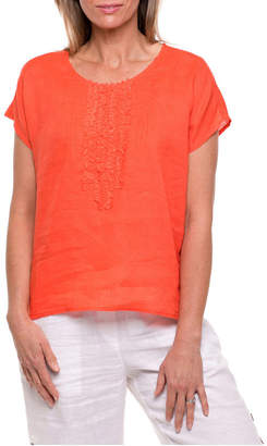Short Sleeve Tuck Front Top