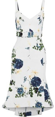 Nicholas Belted Floral-Print Denim Dress