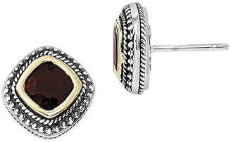 Couture FINE JEWELRY Shey Genuine Garnet Sterling Silver and 14K Yellow Gold Cushion Earrings
