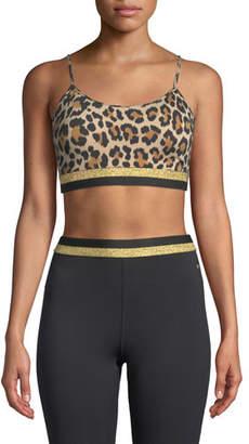 Kate Spade Leopard-Print Metallic Striped Sports Bra