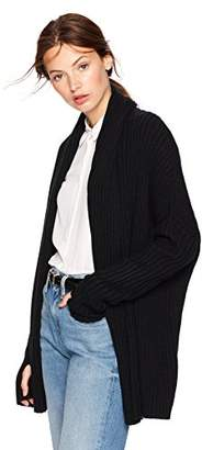 Cable Stitch Women's Long-Sleeve Rib-Knit Cardigan Sweater with Thumbhole