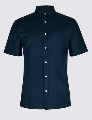Marks and Spencer Linen Rich Slim Fit Shirt with Pocket