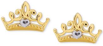 Disney (ディズニー) - Disney Children Princess Crown Stud Earrings in 14k Gold
