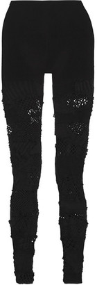 Junya Watanabe - Mesh-paneled Stretch-knit Leggings - Black $740 thestylecure.com