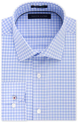 Tommy Hilfiger Men's Slim Fit Th Flex Collar Performance Blue Gingham Dress Shirt, Created for Macy's