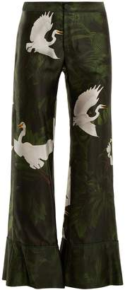 F.R.S - FOR RESTLESS SLEEPERS Dioscuri flying swan-print flared trousers