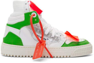 Off-White White and Green 3.0 Off-Court Sneakers