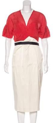 Lela Rose Pleated Midi Dress Orange Pleated Midi Dress