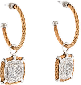 Charriol Charriol Diamond & White Sapphire Hoop Earrings