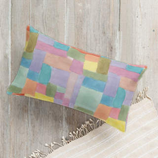 Patchwork Watercolor Lumbar Pillow