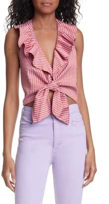 Alice + Olivia Dannette Ruffle Tie Front Crop Top