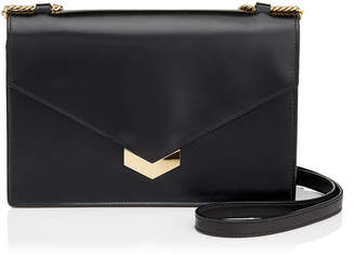 Jimmy Choo LEILA Black Spazzolato Leather Mini Cross Body Bag