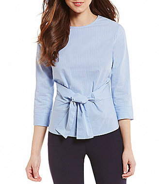 Antonio Melani Keely 3/4 Sleeve Striped Tie Front Poplin Blouse $89 thestylecure.com