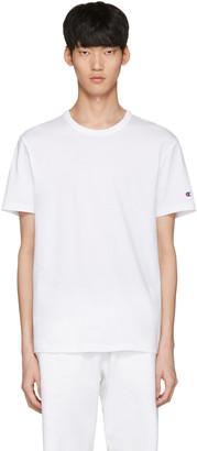 Champion Reverse Weave White Logo T-Shirt $45 thestylecure.com