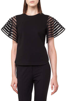 Akris Punto Striped Tulle Wing-Sleeve Top