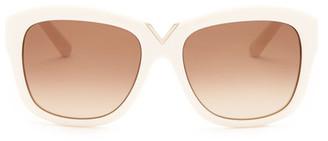 Valentino Women's Oversized V Rectangle Sunglasses $246 thestylecure.com