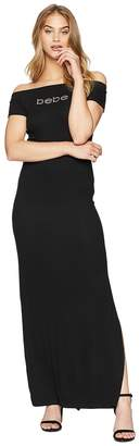 Bebe Off Shoulder Logo Maxi Dress Women's Dress