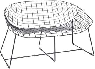 Leopold Black wire contemporary 2 seater garden bench