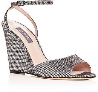 Sarah Jessica Parker Women's Boca Glitter Ankle Strap Wedge Sandals
