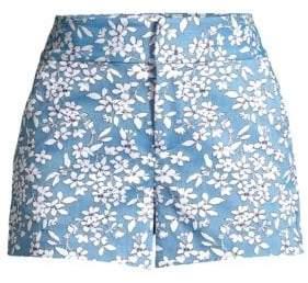 Alice + Olivia Women's Floral Cady Shorts - Cornflower/White - Size 14