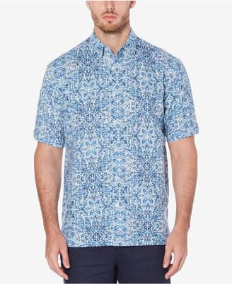 Cubavera Men's Linen Cotton Cuban Tile Inspired Short-Sleeve Print Shirt
