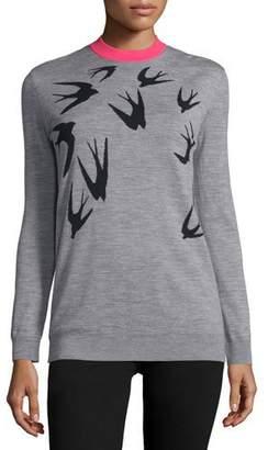 McQ Alexander McQueen Jacquard Crewneck Sweater, Gray Melange/Black $295 thestylecure.com