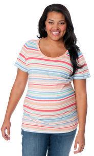 Motherhood Plus Size Short Sleeve Scoop Neck Lightweight Maternity T Shirt