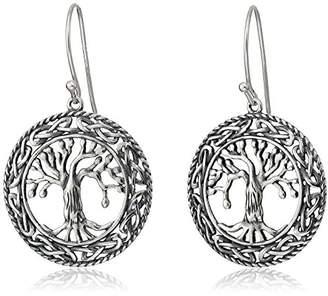 Celtic Sterling Silver Oxidized Tree of Life Dangle Earrings