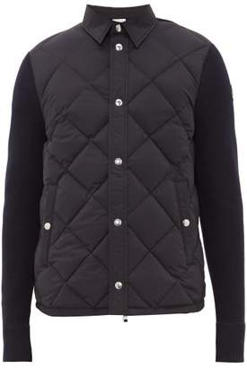 Moncler Panelled Quilted Down Shell And Wool Cardigan - Mens - Navy