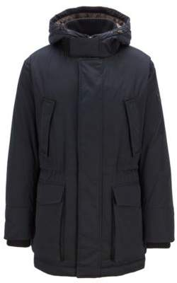 BOSS Hugo Down-filled parka in technical twill fabric quilted lining 40R Open Blue