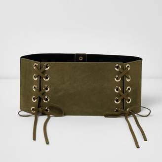 River Island Khaki green wide double lace-up belt