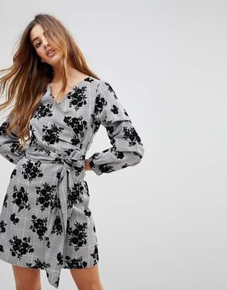 Parisian Check Wrap Dress With Floral Print