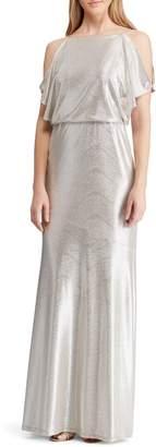 Lauren Ralph Lauren Metallic Cold Shoulder Gown