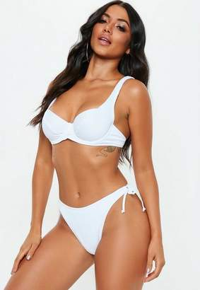 Missguided White Ribbed Underwired Tie Back Bikini Top