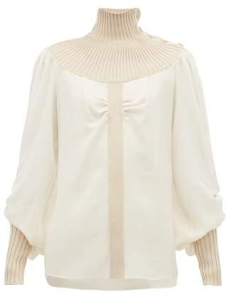 Chloé Wool Blend Roll Neck Silk Georgette Blouse - Womens - Ivory