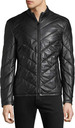 Emporio Armani Men's Zip-Front Chevron-Quilted Lamb Leather Jacket