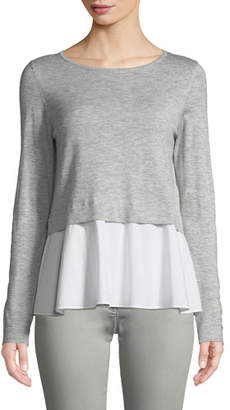 Escada Sport Long-Sleeve Pullover Top w/ Poplin Hem