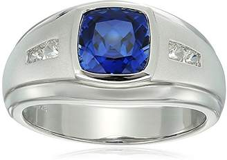 Gents Men's Sterling Silver Lab Created Ceylon Sapphire and Lab Created White Sapphire Ring