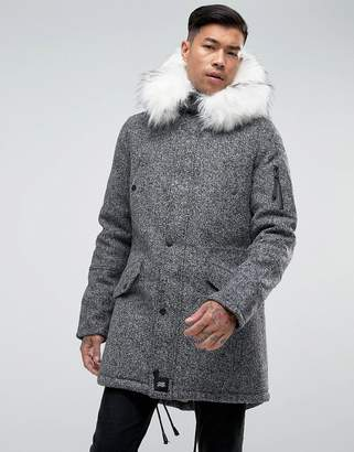 Sixth June Parka Jacket In Gray Wool With Oversized Faux Fur Hood