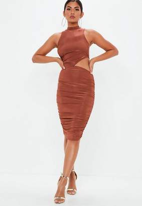 Missguided Brown Slinky Cut Out Waist Midi Dress, Brown