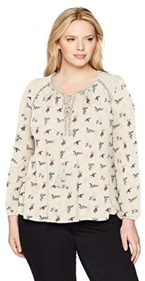 Lucky Brand Women's Ditsy Lace Up Peasant Plus-Size Top