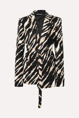House of Holland Belted Zebra-print Cotton-canvas Blazer - Black
