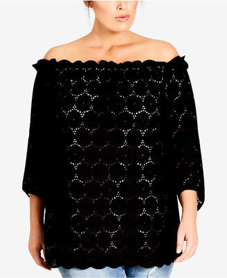City Chic Trendy Plus Size Lace Off-The-Shoulder Tunic