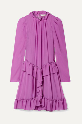 See by Chloe Ruffled Georgette Mini Dress - Violet