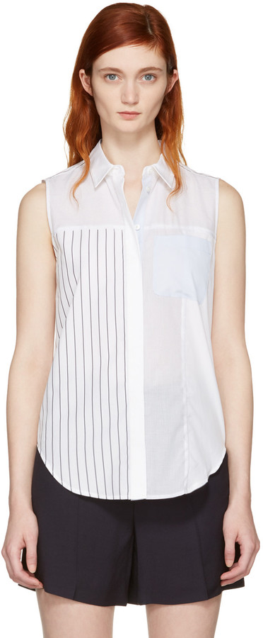 3.1 Phillip Lim3.1 Phillip Lim White Patchwork Sleeveless Shirt